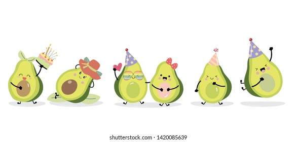 Cute avocado Charakter mit Hut und Herz. Vektorgrafik zur Geburtstagseinladung, Postkarte und Aufkleber