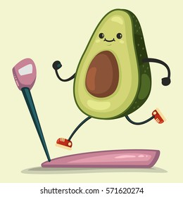Cute Avocado doing exercises on a treadmill. Eating healthy and fitness. Vector illustration isolated on background.