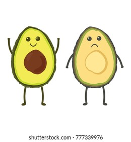 cute avocado isolated on white background, funny and sad emoticon face