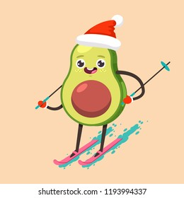 Cute Avocado kid in Santa Claus hat cartoon character skiing. Winter sports and activities. Vector flat funny fruit Christmas illustration isolated on background.