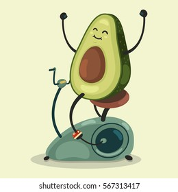 Cute Avocado makes exercise on a stationary bike. Eating healthy and fitness. Retro flat concept illustration.