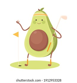 Cute Avocado Playing Golf, Funny Fruit Character Doing Sports, Healthy Eating and Lifestyle, Fitness Concept Cartoon Style Vector Illustration
