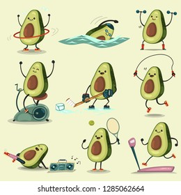 Cute Avocado take exercise. Eating healthy and fitness. Funny food cartoon character vector set isolated on background.
