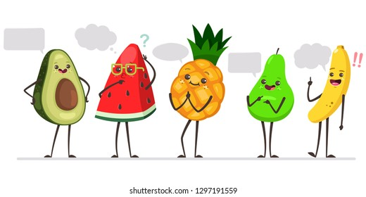 Cute avocado, watermelon, pineapple, pear and banana with speech bubble. Funny fruits vector cartoon characters with conversation cloud isolated on a white background.