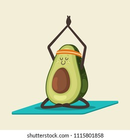 Cute Avocado in yoga pose. Funny vector cartoon fruit character isolated on a background. Eating healthy and fitness.