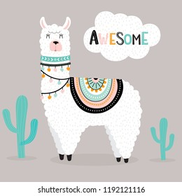 Cute awesome llama with cactus and ethnic design elements vector illustration