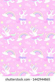 Cute awesome seamless pattern with ballerinas unicorns