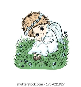 Cute baby angel sitting in summer meadow. Coloring book with symbol of god of man. Happy baby. Concept of resurrection of Jesus Christ. Easter design.
