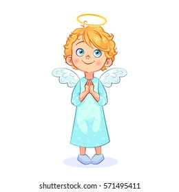 Cute baby angel turns to God, his hands folded in prayer. Funny religious children's character. Vector illustration  isolated on white background.