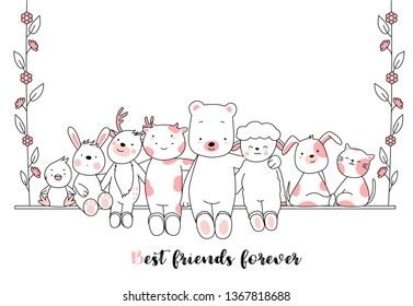Cute baby animal cartoon hand drawn style,for printing,card, t shirt,banner,product.vector illustration