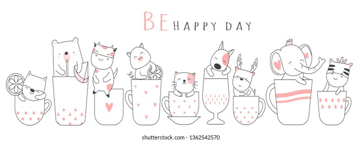 Cute baby animal with cup cartoon hand drawn style, for printing, card, t shirt, banner, product. vector illustration