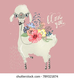 Cute baby animal llama, alpaca with flowers, floral bouquet, tied bow and lettering