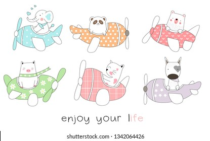 Cute baby animal with plane cartoon hand drawn style,for printing,card, t shirt,banner,product.vector illustration