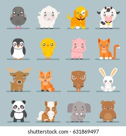 Cute baby animals cartoon cubs flat design icons character set vector illustration