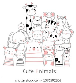 Cute baby animals cartoon hand drawn style,for printing,card, t shirt,banner,product.vector illustration