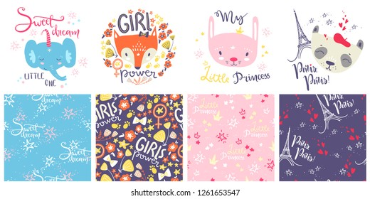 Cute baby animals and seamless patterns. Hand drawn vector illustration. For kid's shirt design, fashion print design, graphic, t-shirt,kids wear. Rabbit, fox, elephant and panda. Hand lettering
