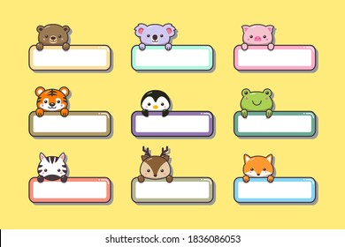 Cute baby animals sticker with label name cartoon hand drawn style