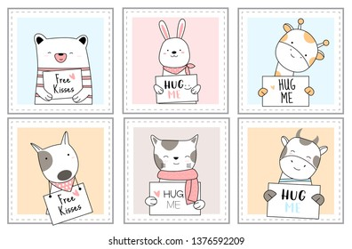 Cute baby animals with window cartoon hand drawn style,for printing,card, t shirt,banner,product.vector illustration