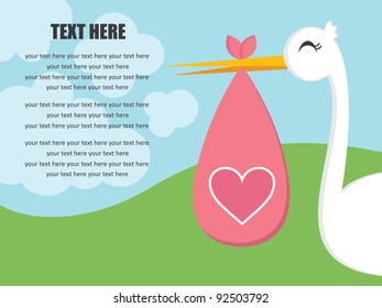 cute baby announcement card. vector illustration