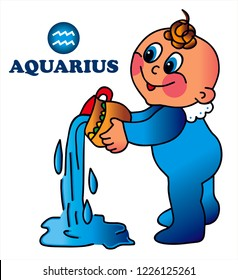 Cute baby aquarius. Astrology, zodiac sign, horoscope. Colored vector for card or gift.