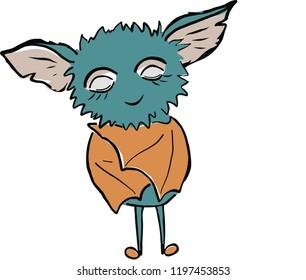 Cute baby bat illustration