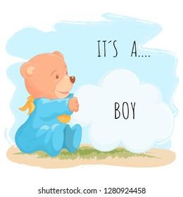 Cute baby bear for baby boy. Vector illustration