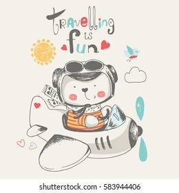 cute baby bear flying on a plane.cartoon hand drawn vector illustration.can be used for kid's/baby's T-shirt print design,fashion graphic,  baby shower card,celebration  greeting and invitation card
