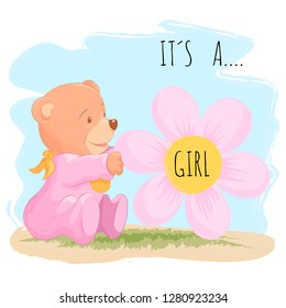 Cute baby bear for baby girl. Vector illustration