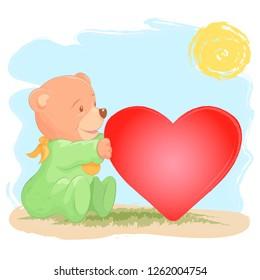 Cute baby bear with a heart