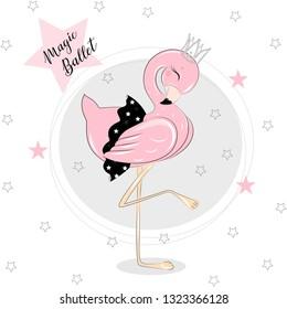 Cute Baby beautiful Balerina Girl and Ballerina Flamingo, lovely, little ballerina girls with black. Vector Flowers illustration