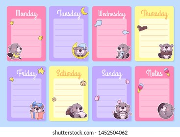 Cute baby beaver weekly planner vector template with kawaii cartoon character. Notepad, diary pages design layouts with copyspace for daily notes and lists. Girlish personal organizer vector mockup