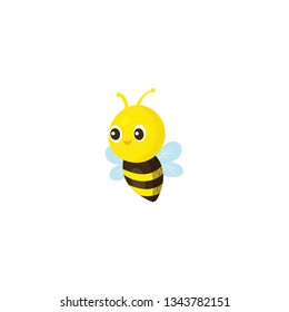 cute baby bee flying cartoon icon on a white background