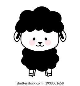 Cute baby black sheep character