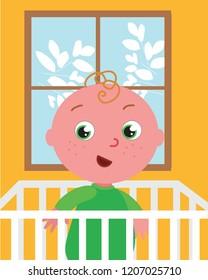 Cute baby boy in children's bed. Vector cartoon illustration