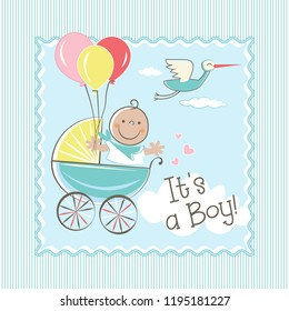 Cute baby boy flying with balloons  in the trolley cartoon character vector illustration. Can be used for baby shower invitation card.