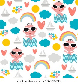 Cute  baby boy on vacation seamless pattern. Vector texture of summer time.