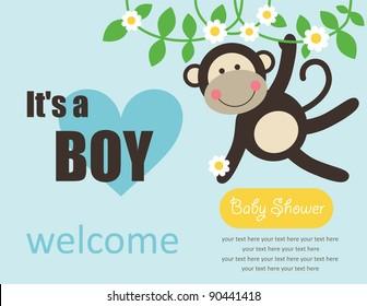 cute baby boy shower. vector illustration