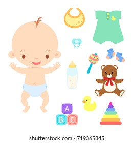 Cute Baby Boy with Toys Clothes and Accessories Vector Illustration