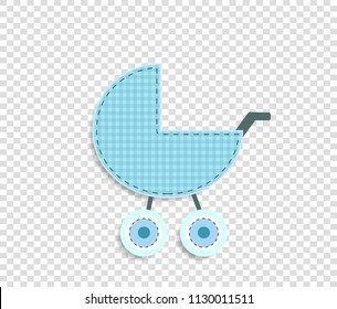 Cute baby boy vector clip art element for scrapbook or baby shower greeting card and kids design. Cut out fabric or paper checkered blue stroller sticker or icon isolated on transparent background.