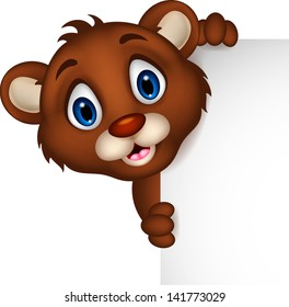 cute baby brown bear cartoon posing with blank sign