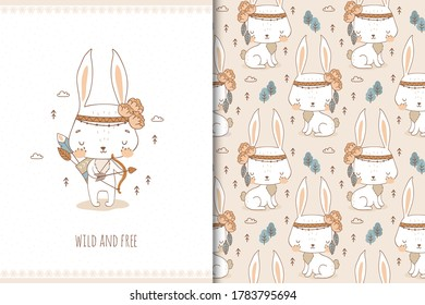 Cute baby bunny. Cartoon Tribal   forest animal character. Kids card print template and seamless background pattern. Hand drawn surface design vector illustration.