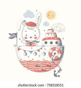 Cute baby bunny sailor on the ship.Cartoon hand drawn vector illustration. Can be used for baby t-shirt print, fashion print design, kids wear, baby shower celebration greeting and invitation card.