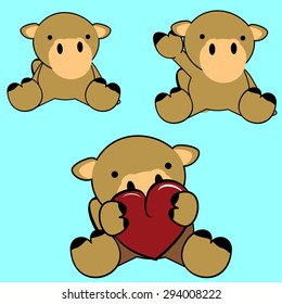 cute baby camel cartoon lovely set in vector format very easy to edit