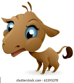 A Cute Baby Camel with an Oversized Head and Large Eyes - Vector