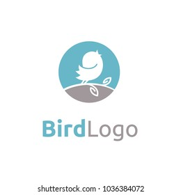 Cute Baby Canary Bird Tweet Singing Simple logo design