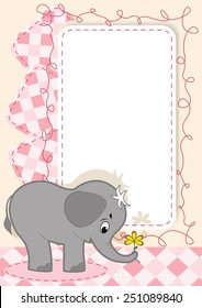 Cute baby card with frame. Vector illustration.