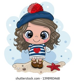 Cute baby cartoon Girl in sailor costume on the beach