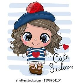 Cute baby cartoon Girl in sailor costume