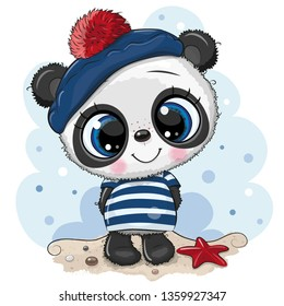 Cute baby cartoon Panda in sailor costume