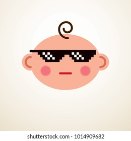 Cute baby cartoon vector flat icon, cool child with pixel glasses of life thug emoji.